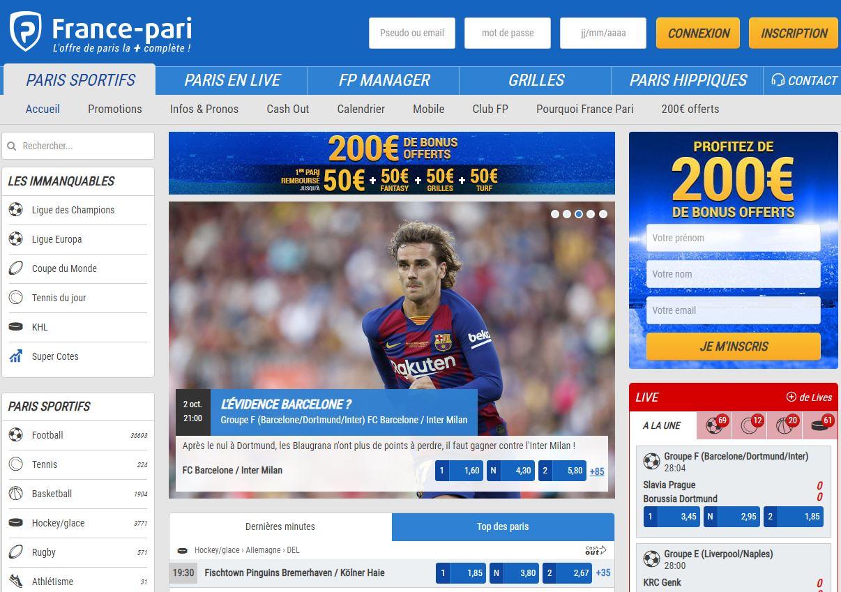 Capture d'écran de France-Pari