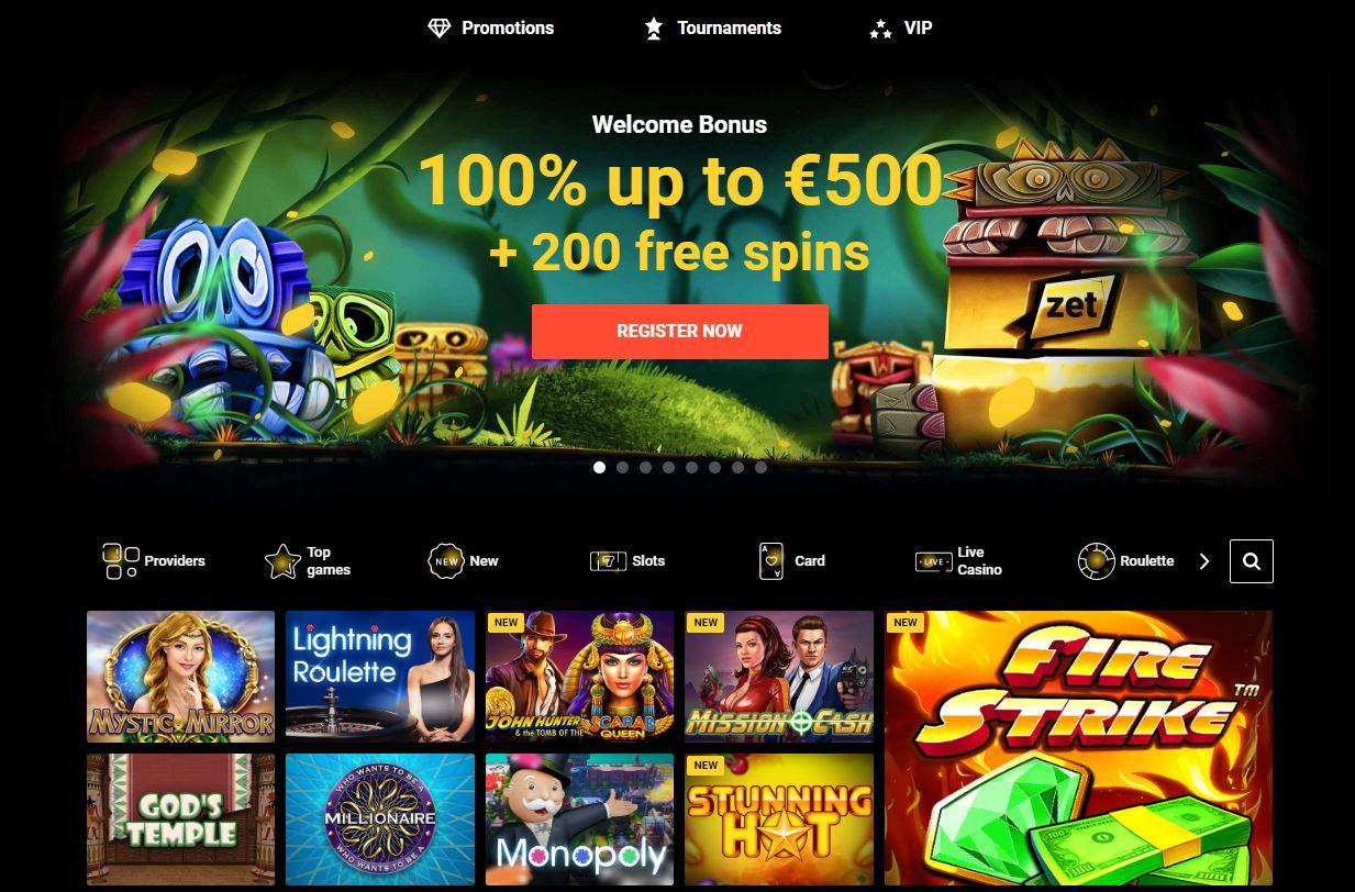 Zet Casino Screenshot