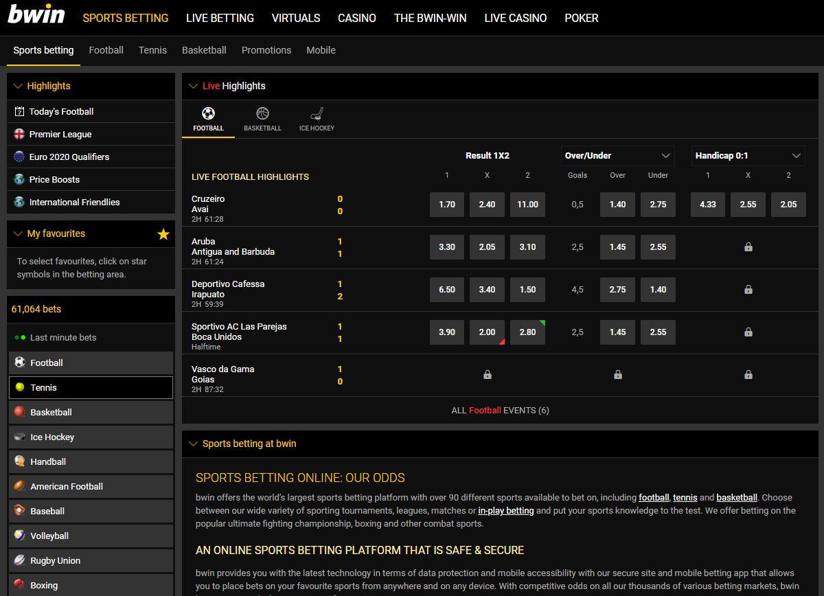 Bwin Sports Betting Screenshot