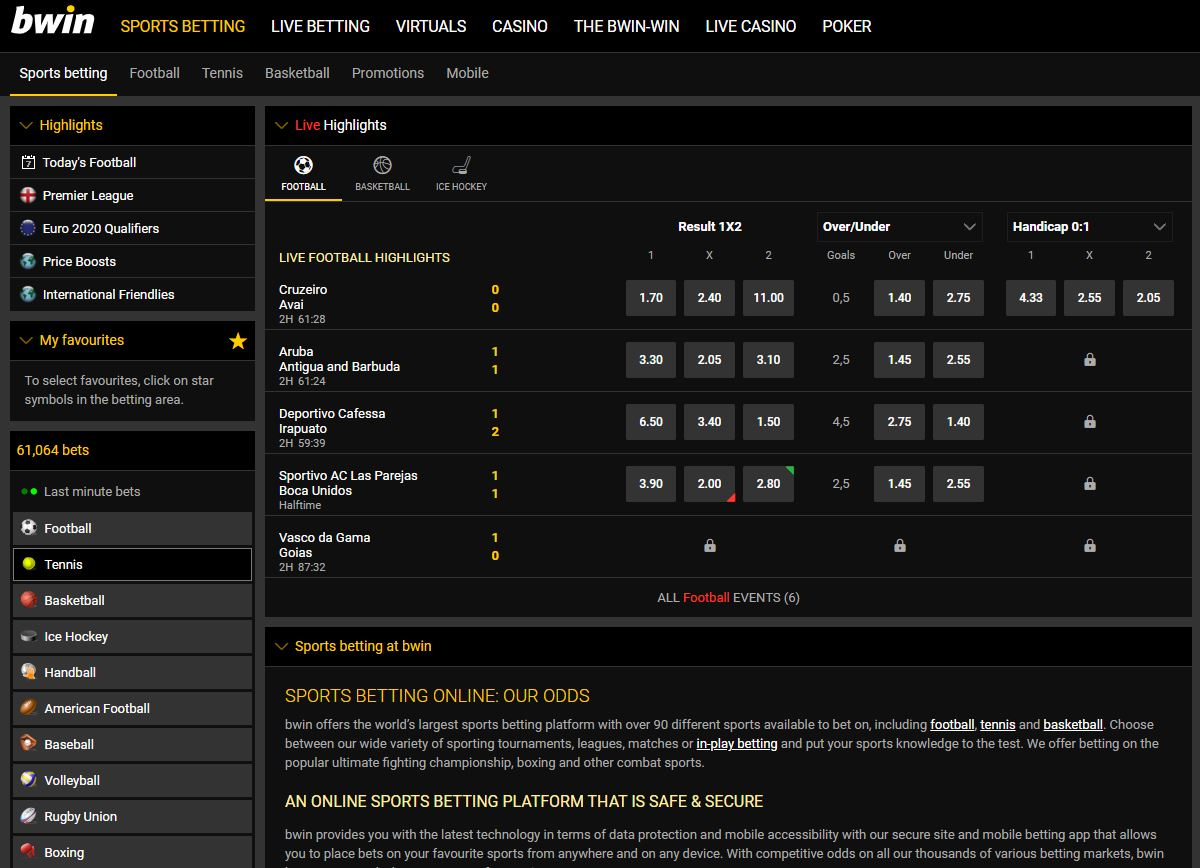 Bwin Sports Betting Screenshot