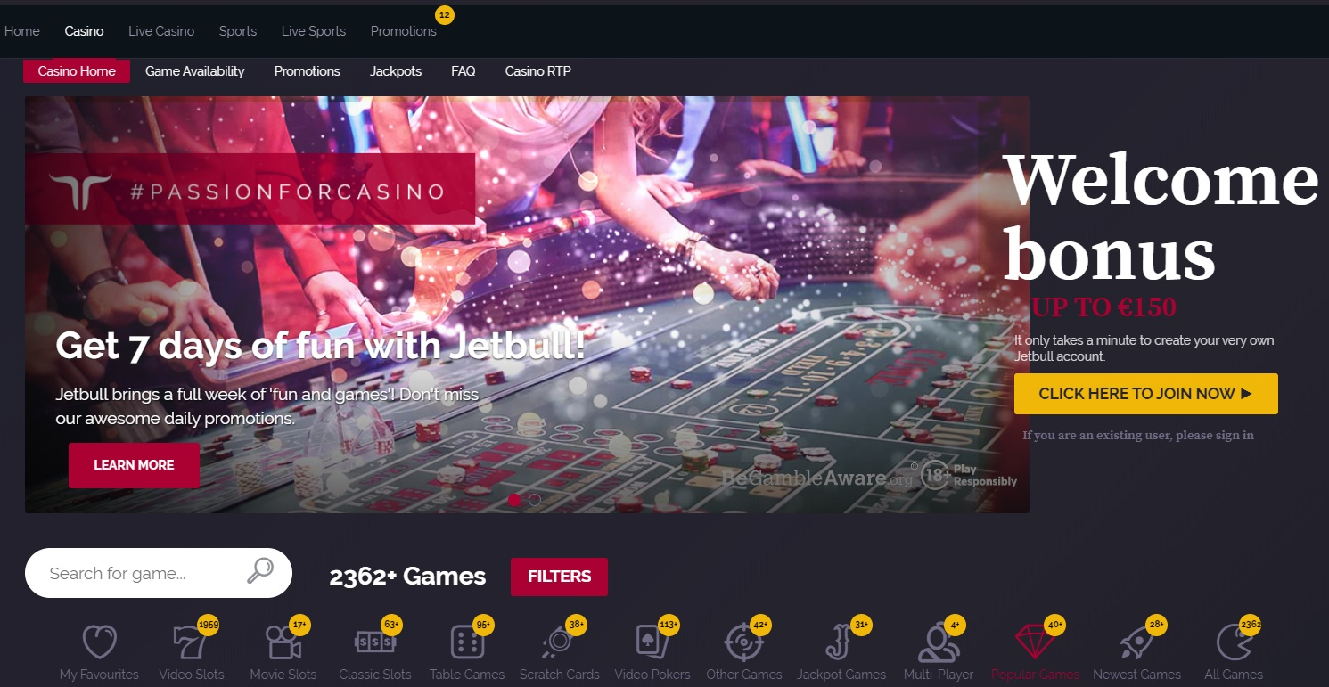 JetBull Casino Screenshot
