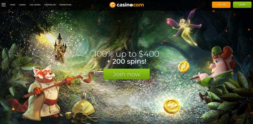 Casino.com Review Home Page Screenshot