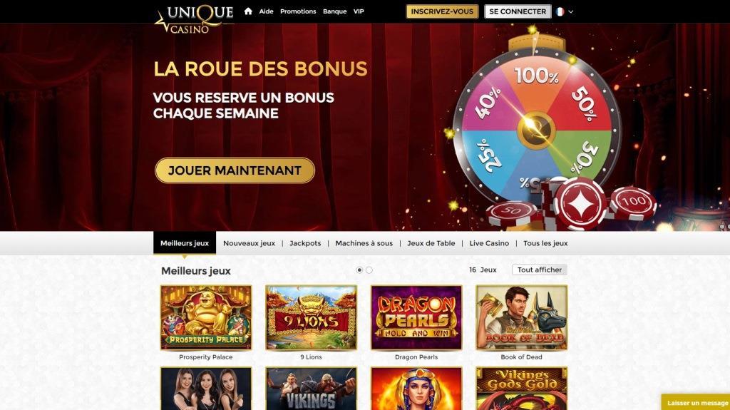 Unique Casino Avis Screenshot