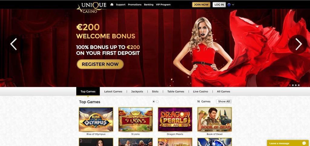 Unique Casino Review Screenshot